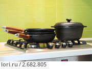 Купить «Чугунная посуда на плите», фото № 2682805, снято 28 июля 2011 г. (c) Лилия / Фотобанк Лори
