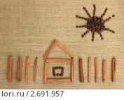 Контур дома из палочек корицы. Стоковое фото, фотограф Денис Кошель / Фотобанк Лори