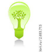 Купить «Зеленая лампочка с деревом внутри», иллюстрация № 2693713 (c) Евгения Малахова / Фотобанк Лори