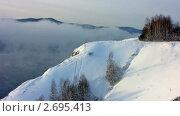 Зимний пейзаж. Туман над рекой. Стоковое видео, видеограф Юрий Пономарёв / Фотобанк Лори