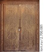 Старинная резная деревянная дверь в Кенеургенче (XII-XIII вв.) (2009 год). Редакционное фото, фотограф Наталья Громова / Фотобанк Лори