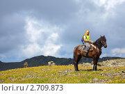 Девушка верхом на лошади на фоне гор. Стоковое фото, фотограф Яков Филимонов / Фотобанк Лори