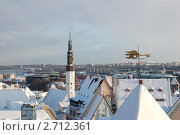 Таллин зимой. Старый город. Золотой петушок (2010 год). Стоковое фото, фотограф Сергей Алямовский / Фотобанк Лори