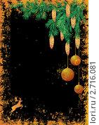 Новогодняя открытка с северным оленем и еловыми ветками. Стоковая иллюстрация, иллюстратор Татьяна Петрова / Фотобанк Лори