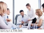 Купить «Бизнес-команда в офисе», фото № 2739305, снято 1 июня 2011 г. (c) Raev Denis / Фотобанк Лори