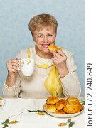 Купить «Пожилая женщина пьет чай с пирожками», фото № 2740849, снято 31 января 2009 г. (c) Gravicapa / Фотобанк Лори