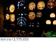 Кабина современного самолета ночью. Стоковое фото, фотограф Александр Харченко / Фотобанк Лори