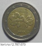 Монета 2 евро Финляндии. Аверс. Стоковое фото, фотограф Василий Пешненко / Фотобанк Лори