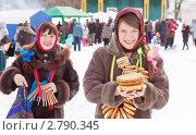 Купить «Две девушки отмечают Масленицу», фото № 2790345, снято 6 марта 2011 г. (c) Яков Филимонов / Фотобанк Лори