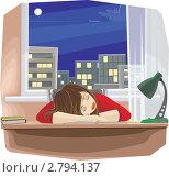 Купить «Девочка, заснувшая за столом над книгами, положив голову на руки», иллюстрация № 2794137 (c) Антон Гриднев / Фотобанк Лори