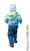 Бегущий мальчик дошкольного возраста в демисезонной одежде со спины. Стоковое фото, фотограф Родион Власов / Фотобанк Лори