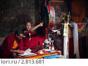 Монахи-буддисты на молитвенной церемонии в храме (2011 год). Редакционное фото, фотограф Татьяна Белова / Фотобанк Лори