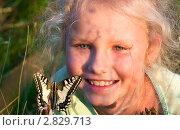 Купить «Портрет маленькой девочки с бабочкой», фото № 2829713, снято 5 августа 2011 г. (c) Юрий Брыкайло / Фотобанк Лори