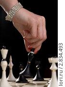 Купить «Женская рука с шахматной фигурой», фото № 2834493, снято 27 февраля 2011 г. (c) Влад Нордвинг / Фотобанк Лори
