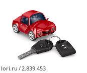Купить «Автомобиль и ключ на белом фоне», иллюстрация № 2839453 (c) Ильин Сергей / Фотобанк Лори