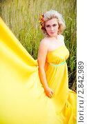 Молодая женщина в жёлтом платье на фоне травы. Стоковое фото, фотограф Верстова Арина / Фотобанк Лори