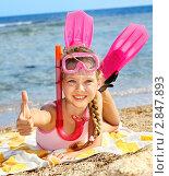 Купить «Девочка на фоне моря с маской и ластами», фото № 2847893, снято 13 января 2011 г. (c) Gennadiy Poznyakov / Фотобанк Лори