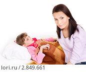 Купить «Больной ребенок с матерью», фото № 2849661, снято 21 декабря 2010 г. (c) Gennadiy Poznyakov / Фотобанк Лори
