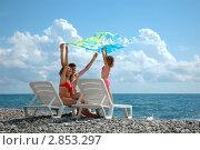 Семья на пляже. Стоковое фото, фотограф Светлана Полушкина / Фотобанк Лори