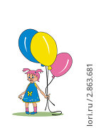 Малышка с шариками. Стоковая иллюстрация, иллюстратор Кончакова Татьяна / Фотобанк Лори