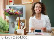 Купить «Учительница в классе», фото № 2864005, снято 1 сентября 2009 г. (c) Losevsky Pavel / Фотобанк Лори