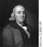 Портрет Бенджамина Франклина на гравюре 1833 года. Стоковая иллюстрация, иллюстратор Georgios Kollidas / Фотобанк Лори