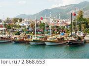 Прогулочные туристические яхты в порту Алании, Турция (2011 год). Редакционное фото, фотограф Кардаш Валерия / Фотобанк Лори