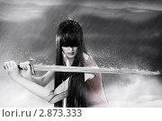 Купить «Девушка с длинными чёрными волосами держит меч», фото № 2873333, снято 27 декабря 2010 г. (c) katalinks / Фотобанк Лори