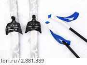 Купить «Пара беговых лыж и лыжные палки», фото № 2881389, снято 18 февраля 2010 г. (c) Losevsky Pavel / Фотобанк Лори