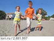 Купить «Две девочки и мальчик гуляют на песчаном пляже», фото № 2881997, снято 28 июля 2010 г. (c) Losevsky Pavel / Фотобанк Лори