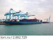 Купить «Большое грузовое судно в промышленном порту», фото № 2882729, снято 16 апреля 2010 г. (c) Losevsky Pavel / Фотобанк Лори