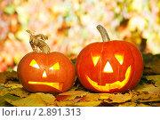 Хеллоуин, два фонаря из тыквы. Стоковое фото, фотограф Иван Коваленко / Фотобанк Лори