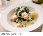 Лазанья с лососем и шпинатом под шафранным сливочным соусом. Стоковое фото, фотограф Monkey Business Images / Фотобанк Лори