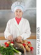 Купить «Женщина-повар с рыбой и овощами», фото № 2897065, снято 16 октября 2011 г. (c) Яков Филимонов / Фотобанк Лори