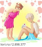 Два ангела. День всех влюбленных. Стоковая иллюстрация, иллюстратор Светлана Боронина / Фотобанк Лори