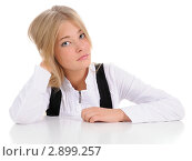 Купить «Портрет девушки на белом фоне», фото № 2899257, снято 23 октября 2011 г. (c) Валерий Александрович / Фотобанк Лори