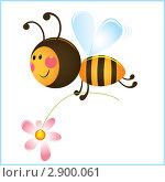 Купить «Забавная пчелка с цветочком», иллюстрация № 2900061 (c) Рада Коваленко / Фотобанк Лори