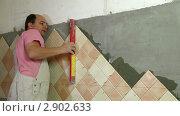 Купить «Укладка керамической плитки», видеоролик № 2902633, снято 24 октября 2011 г. (c) Владимир Никулин / Фотобанк Лори
