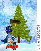 Купить «Новогодние праздничные распродажи в год Синего Дракона», иллюстрация № 2906709 (c) Сергей Гавриличев / Фотобанк Лори