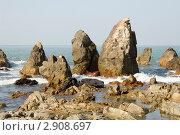 Купить «Скалы на пляже Арамболь», фото № 2908697, снято 31 декабря 2009 г. (c) Katerina Anpilogova / Фотобанк Лори