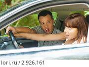 Купить «Испуганная пара в автомобиле», фото № 2926161, снято 7 июля 2011 г. (c) BestPhotoStudio / Фотобанк Лори