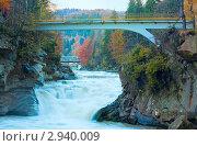 Купить «Осенний пейзаж с мостом и водопадом», фото № 2940009, снято 22 октября 2010 г. (c) Юрий Брыкайло / Фотобанк Лори