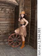 Купить «Молодая женщина в ковбойской шляпе со старым деревянным колесом», фото № 2944981, снято 10 апреля 2011 г. (c) Сергей Дубров / Фотобанк Лори
