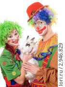 Купить «Два веселых клоуна с кроликом», фото № 2946829, снято 21 ноября 2009 г. (c) Сергей Сухоруков / Фотобанк Лори