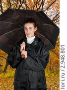 Купить «Девушка в осеннем парке с большим раскрытым зонтом», фото № 2948801, снято 3 октября 2009 г. (c) Jan Jack Russo Media / Фотобанк Лори