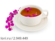 Купить «Травяной чай в белой чашке с кипреем», фото № 2949449, снято 13 июля 2011 г. (c) Резеда Костылева / Фотобанк Лори