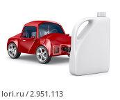 Купить «Красный автомобиль и канистра для моторного масла на белом фоне», иллюстрация № 2951113 (c) Ильин Сергей / Фотобанк Лори