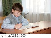 Купить «Школьник за партой», фото № 2951705, снято 7 июля 2020 г. (c) Володина Ольга / Фотобанк Лори