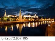 Московский Кремль ночью, Россия, фото № 2957185, снято 8 июня 2011 г. (c) Угоренков Александр / Фотобанк Лори