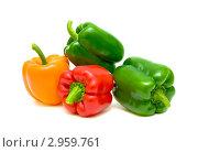 Купить «Сладкий разноцветный болгарский перец, изолировано на белом фоне», фото № 2959761, снято 24 мая 2020 г. (c) Ласточкин Евгений / Фотобанк Лори